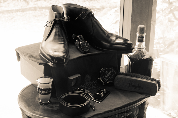 Shoes, belt, whiskey, cufflinks, rings, watch