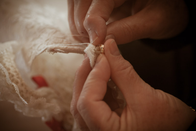 LAST BUTTON SEWED BY MUM ONTO WEDDING DRESS